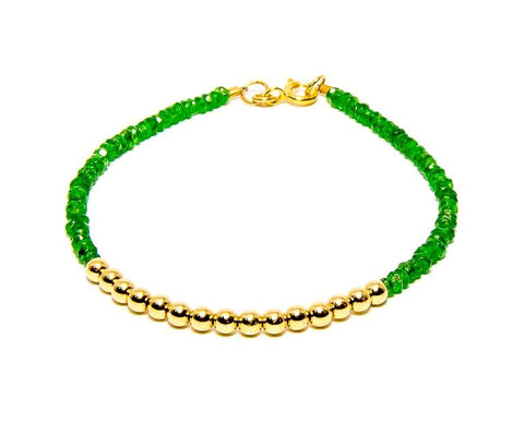 Tsavorite Garnet 14k Gold Bead Bracelet - Women's and Men's Bracelet