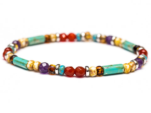 Turquoise, Amethyst and Carnelian Silver Stretch Bracelet - Women and Men's Bracelet