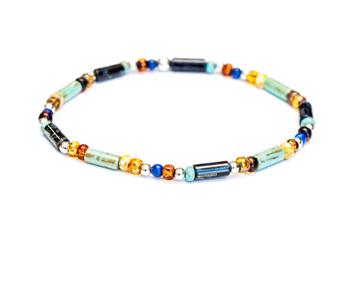 Multicolor Turquoise Stretch Bracelet in 14k White Gold