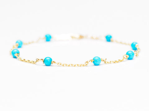 Turquoise Bracelet with 18k Gold Chain, Turquoise Station Bracelet