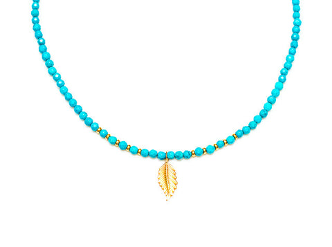 14k Gold Turquoise Necklace with Leaf Charm Pendant