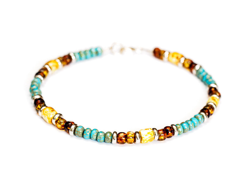 Multicolor Turquoise Bead Bracelet in Sterling Silver