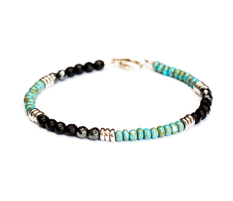 Turquoise, Onyx and Hematite Beaded Bracelet in Silver - Womens and Mens Bracelet