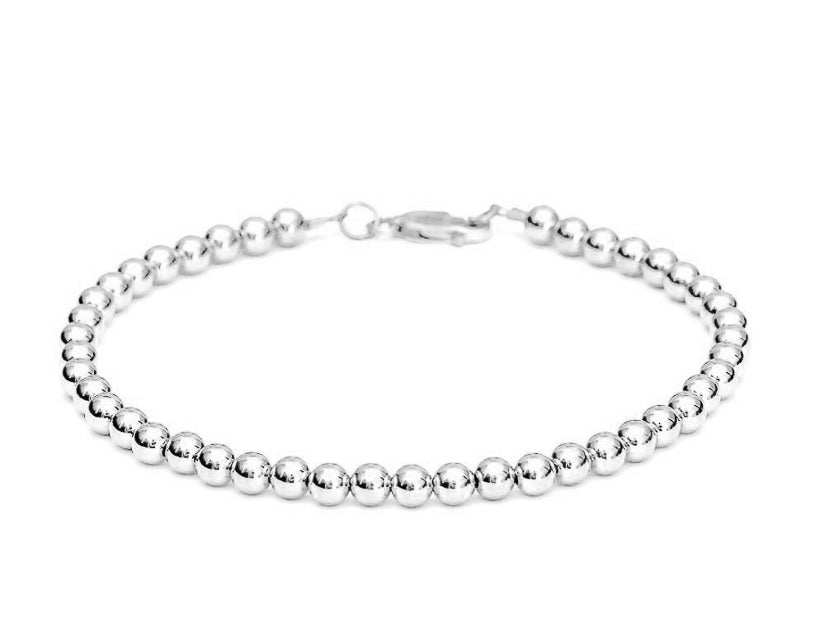 14k White Gold Ball Bead Bracelet - Women and Men's Bracelet - 5mm