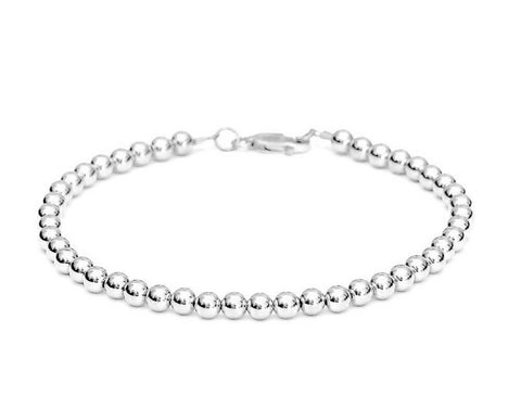 14k White Gold Bead Bracelet - Women and Men's Bracelet - 5mm