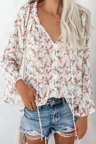 The Kiwi Lounge Clothing Store Floral Drawstring Bell Sleeve Top