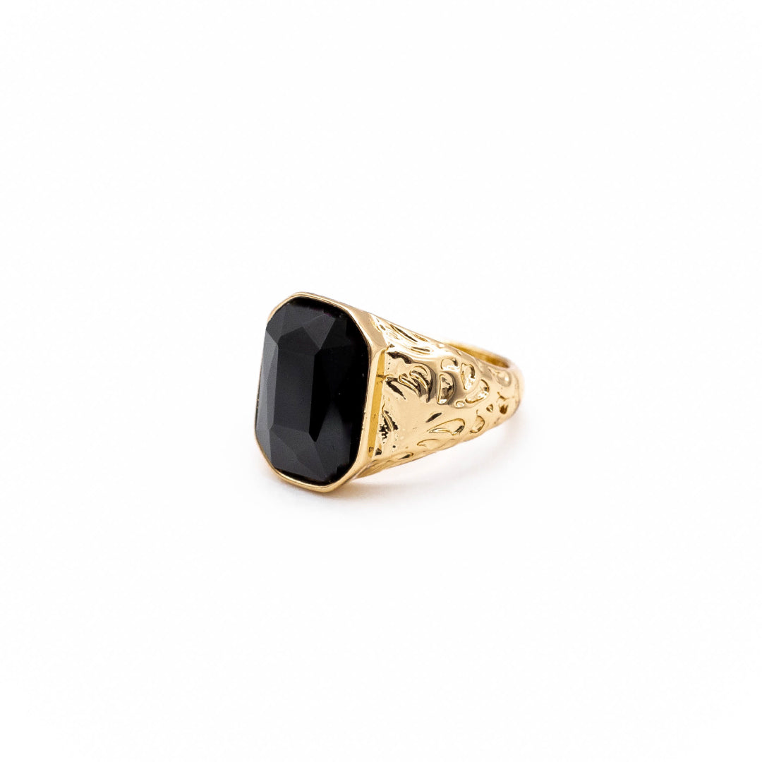 Black Emerald Cut Stone Ring