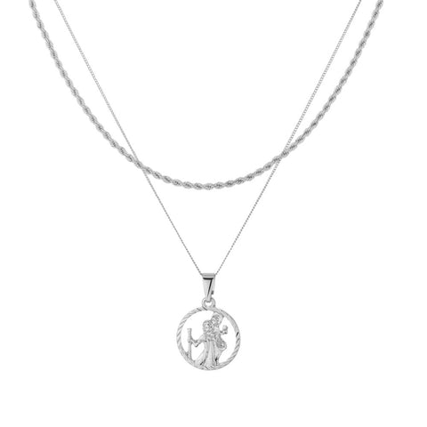 St Christopher Cut Out Medallion Rope Layer