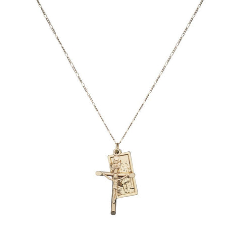 Crucifix Figaro Bunch Necklace