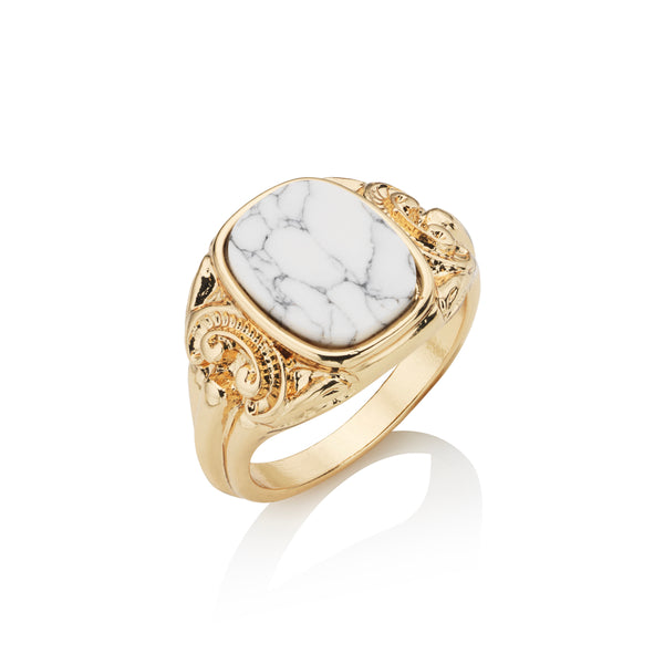 Square Detail White Stone Ring