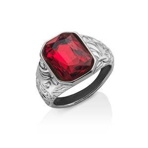 Red Emerald Cut Stone Ring