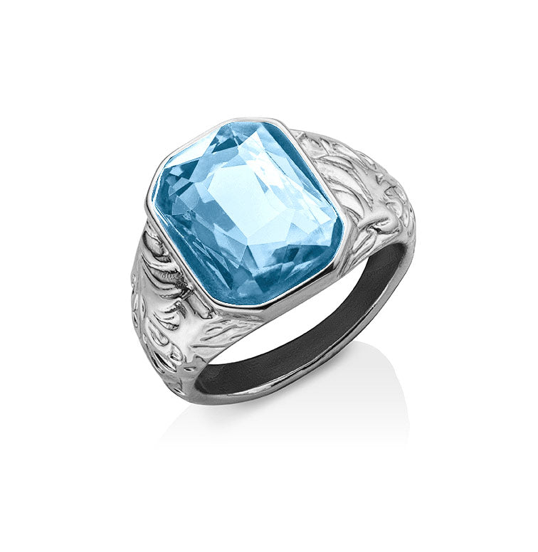Blue Emerald Cut Stone Ring