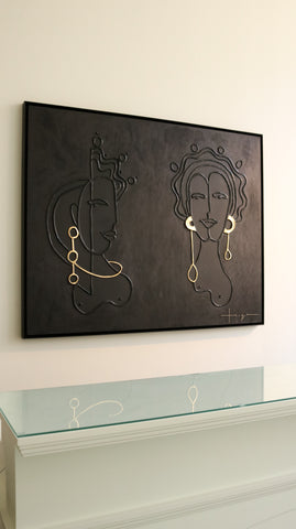 Taryn Brown Dos Reinas porcelain and gold leaf on birch panel