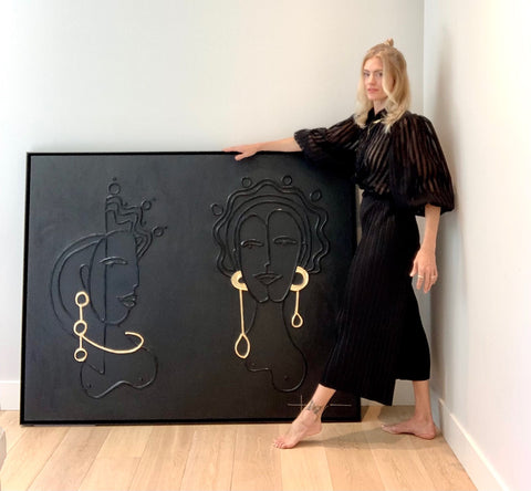 Taryn Brown with Dos Reinas porcelain and gold leaf on birch panel
