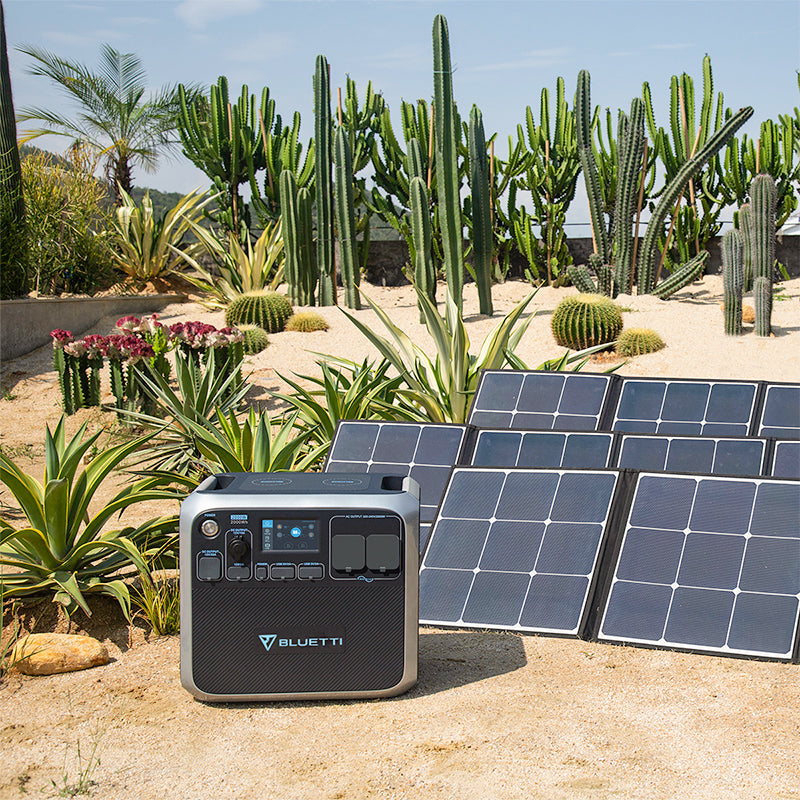 bluetti ac200p power station charging with solar panel