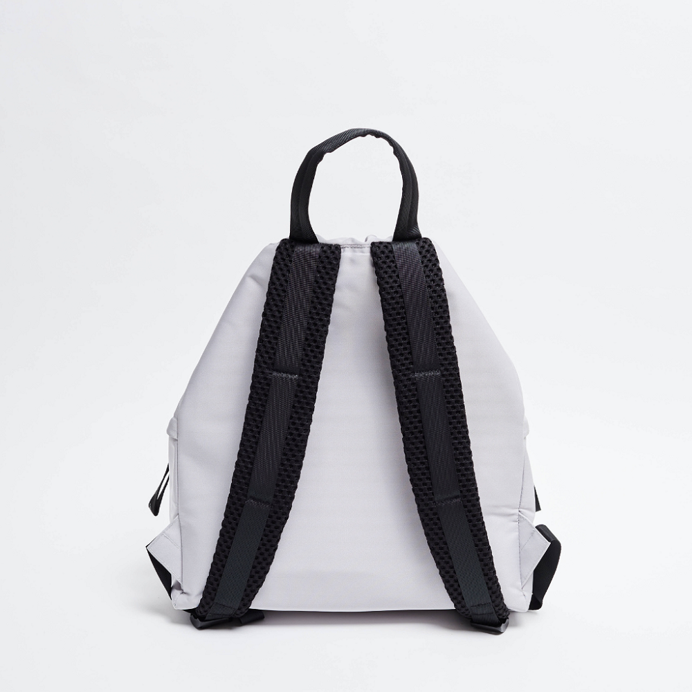 Back view of the ACE Bagpack color Light Grey made with ECONYLu00ae regenerated nylon