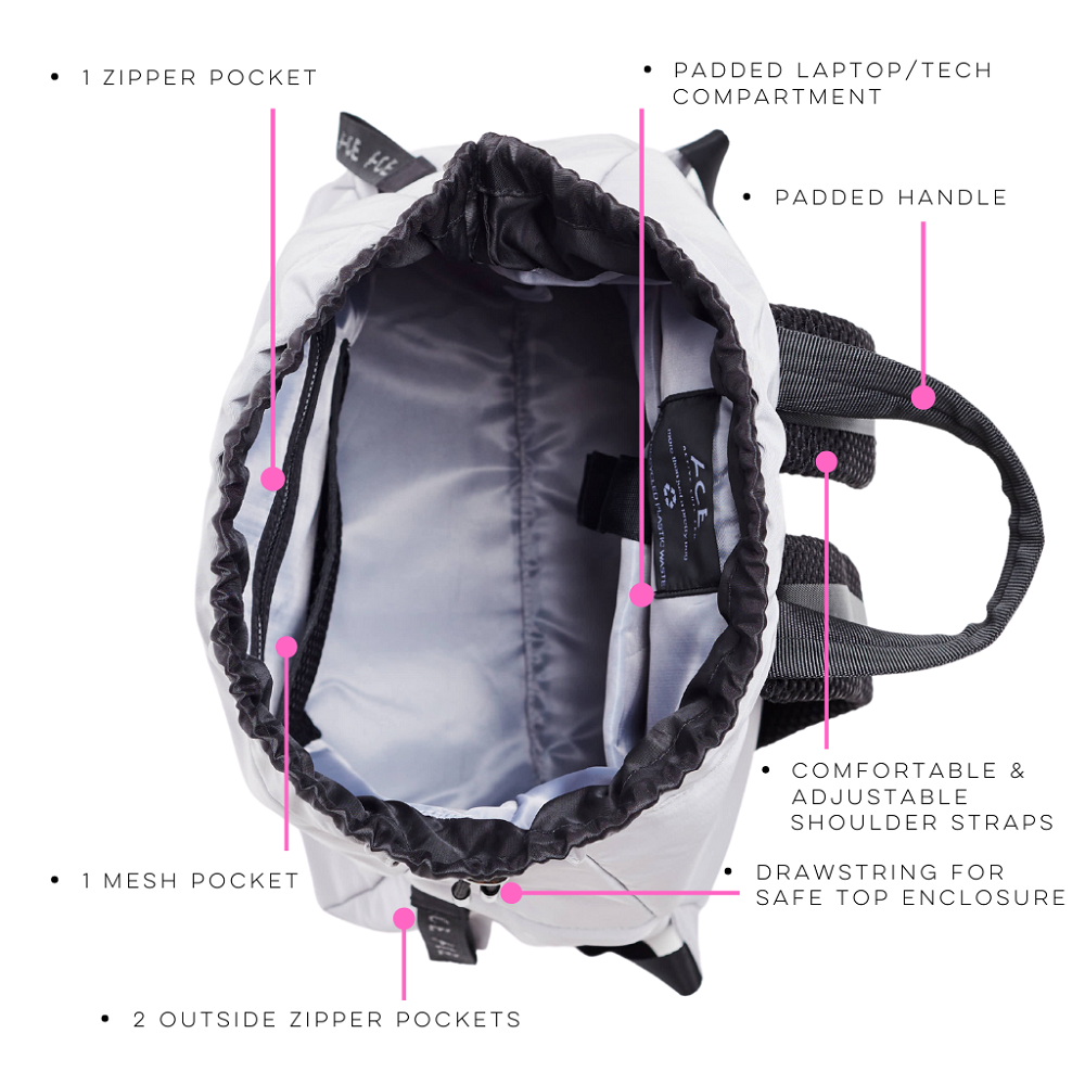 Inside view of the ACE Bagpack color Light Grey made with ECONYLu00ae regenerated nylon