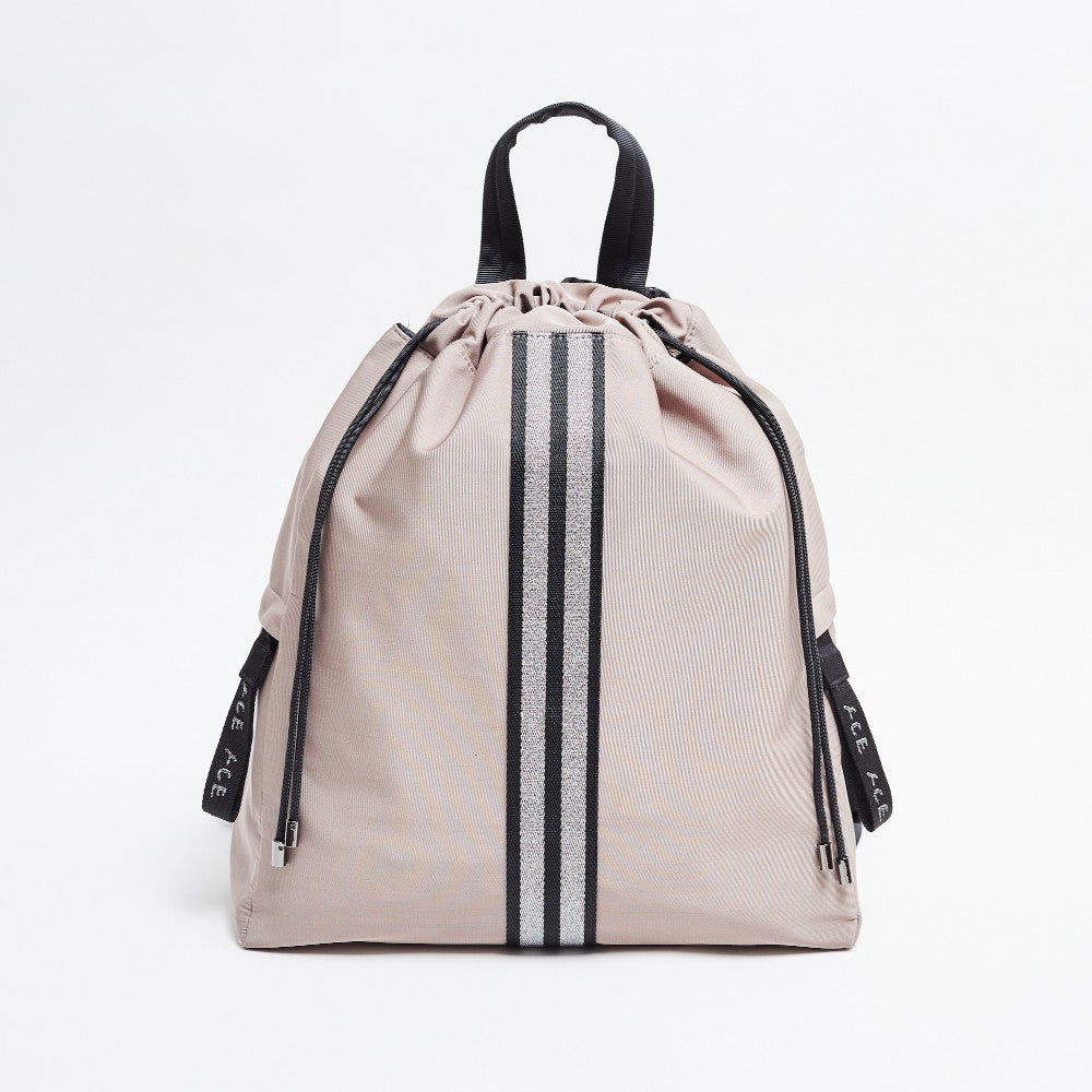 Front view of the ACE Bagpack color Taupe made with ECONYLu00ae regenerated nylon