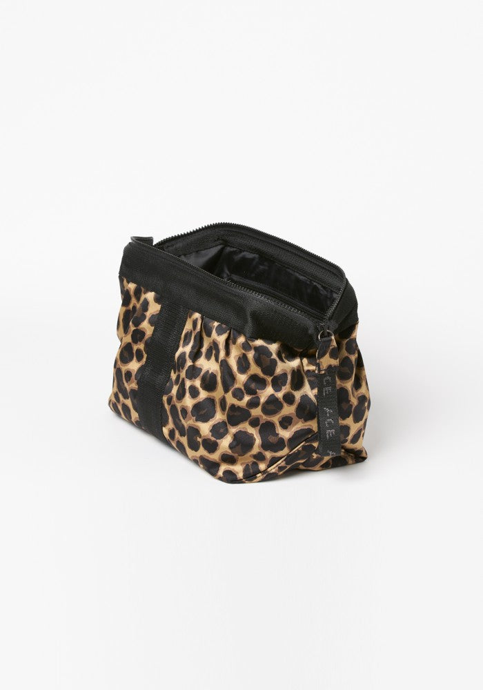 Side view of the ACE Cosmetic Bag color Leopard made with ECONYLu00ae regenerated nylon