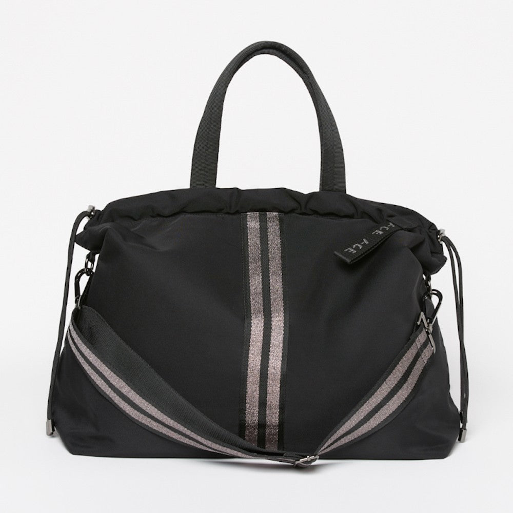 Front view of the ACE Tote Bag color Black made with ECONYLu00ae regenerated nylon