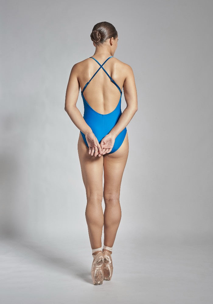 Back view of the Coppelia leotard in blue Aisy Dance made with ECONYLu00ae regenerated nylon