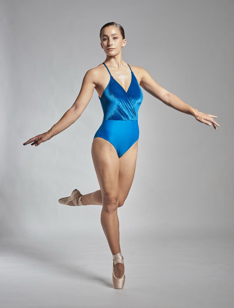 Coppelia leotard in blue Aisy Dance made with ECONYLu00ae regenerated nylon