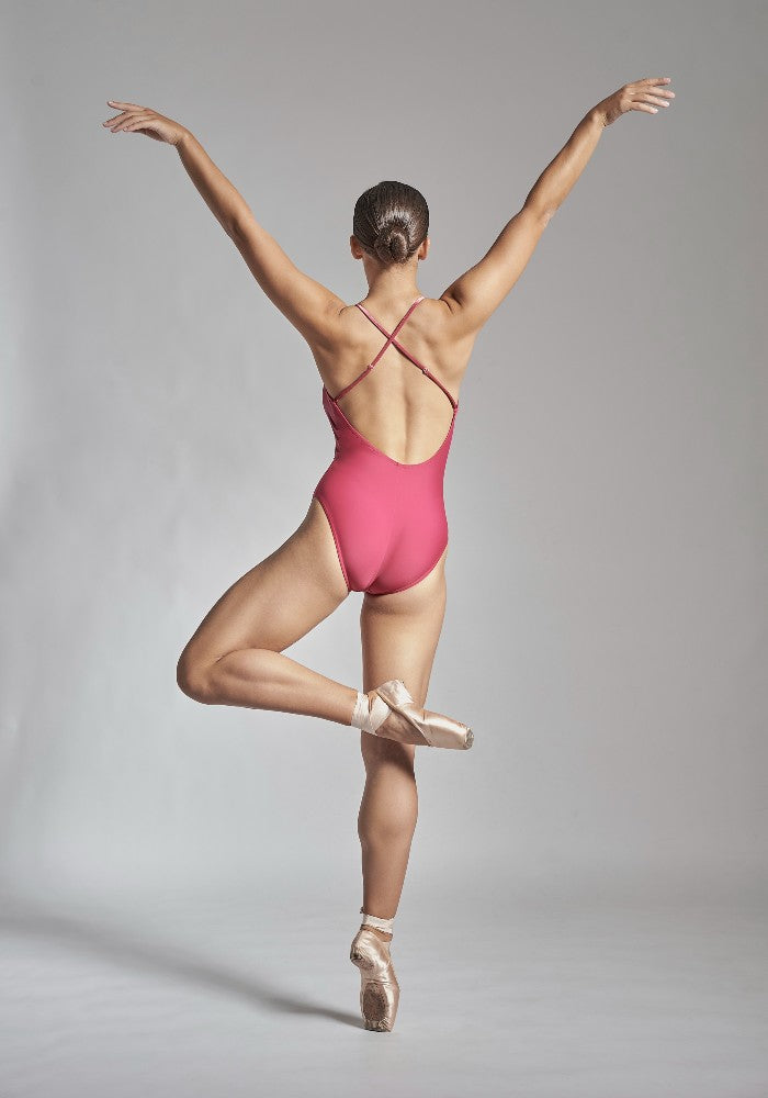 Back view of the Coppelia leotard in pink Aisy Dance made with ECONYLu00ae regenerated nylon