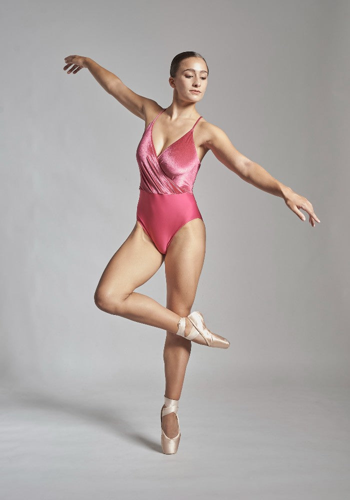 Front view of the Coppelia leotard in pink Aisy Dance made with ECONYLu00ae regenerated nylon