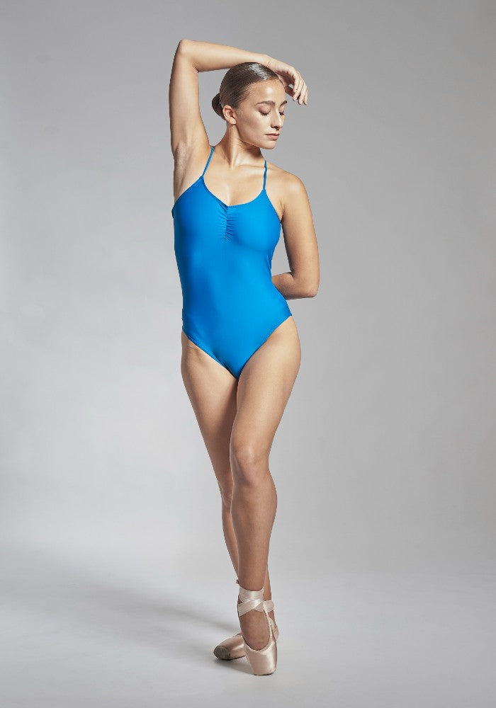 Front view of the Effie leotard in blue Aisy Dance made with ECONYLu00ae regenerated nylon