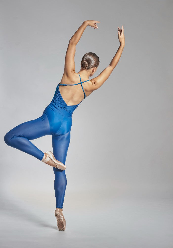 Back view of a dancer wearing the Effie leotard in blue Aisy Dance made with ECONYLu00ae regenerated nylon