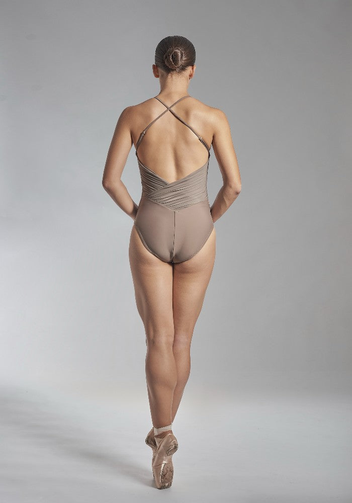 Back view of the Effie leotard in brown Aisy Dance made with ECONYLu00ae regenerated nylon
