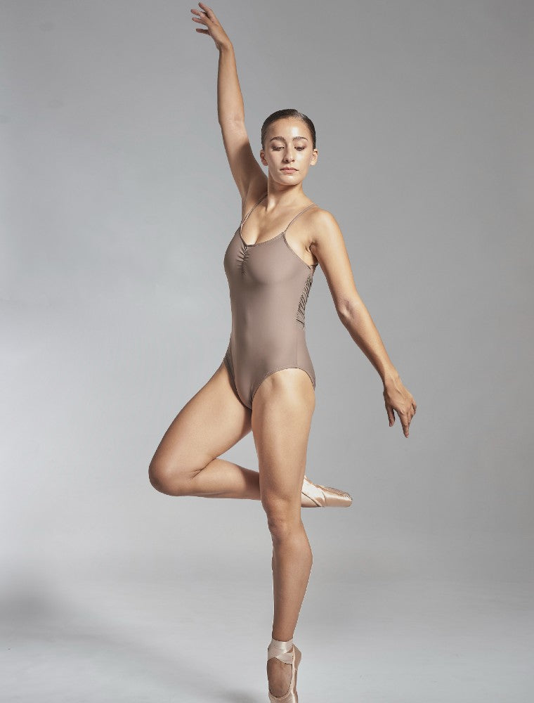 Effie leotard in brown Aisy Dance made with ECONYLu00ae regenerated nylon