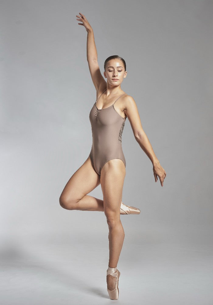 Front view of the Effie leotard in brown Aisy Dance made with ECONYLu00ae regenerated nylon
