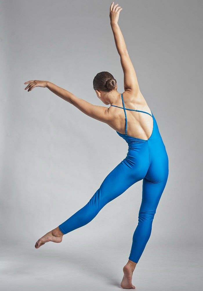 Back view of the Gamzatti unitard in blue Aisy Dance made with ECONYLu00ae regenerated nylon