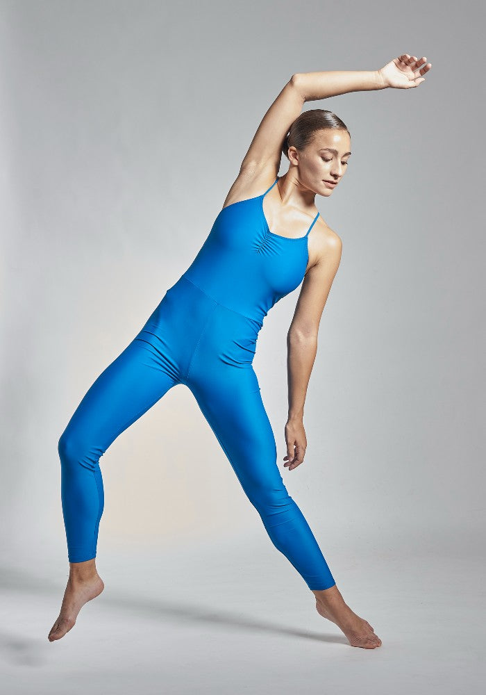Front view of the Gamzatti unitard in blue Aisy Dance made with ECONYLu00ae regenerated nylon