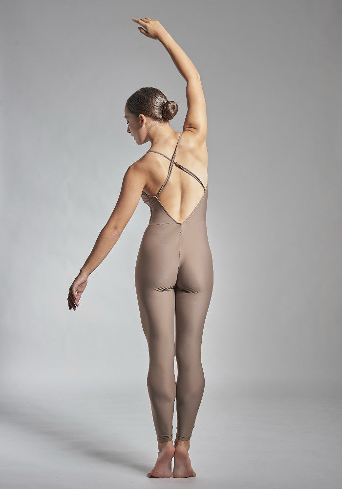 Back view of the Gamzatti unitard in brown Aisy Dance made with ECONYLu00ae regenerated nylon