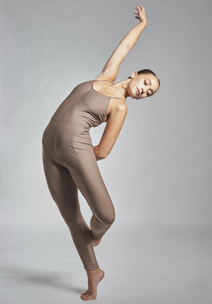 Front view of the Gamzatti unitard in brown Aisy Dance made with ECONYLu00ae regenerated nylon
