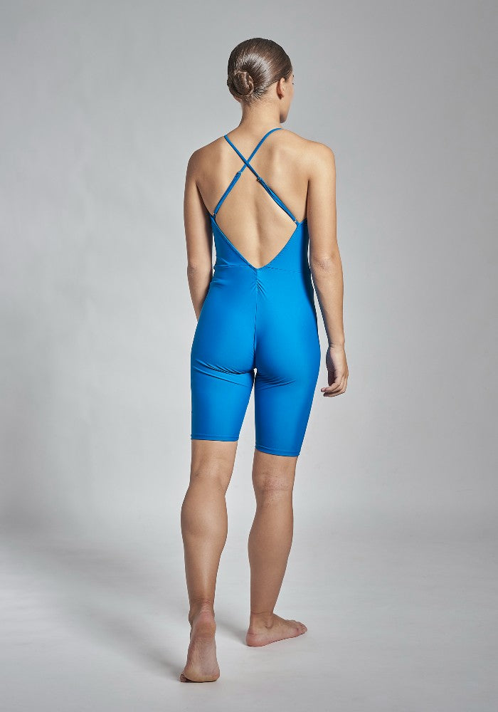 Back view of the Gulnara unitard in blue Aisy Dance made with ECONYLu00ae regenerated nylon
