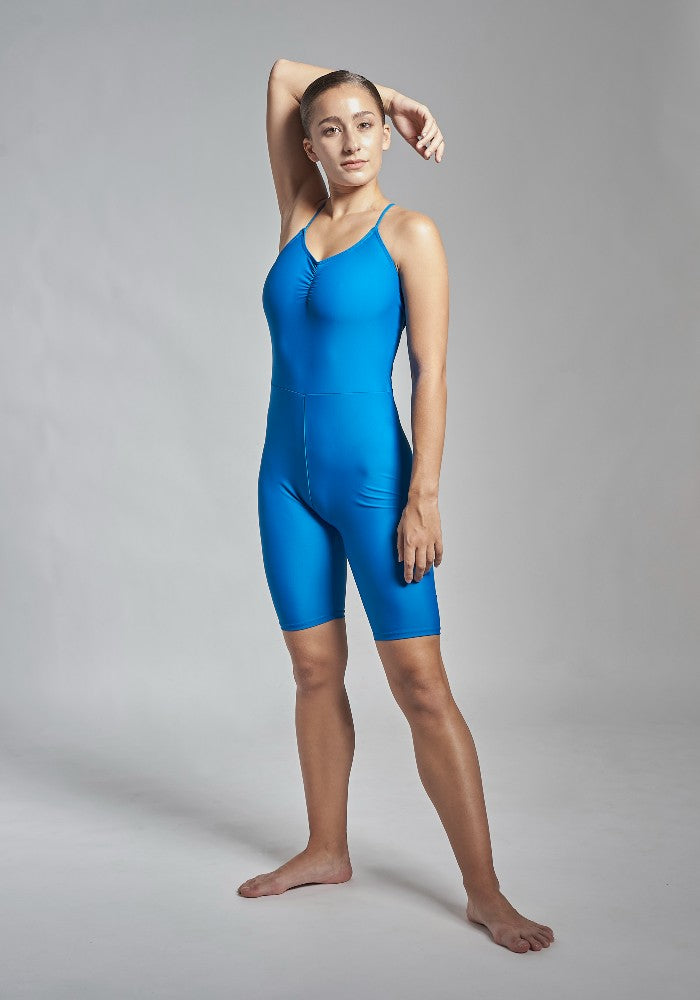 Front view of the Gulnara unitard in blue Aisy Dance made with ECONYLu00ae regenerated nylon