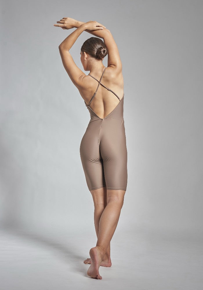 Back view of the Gulnara unitard in brown Aisy Dance made with ECONYLu00ae regenerated nylon