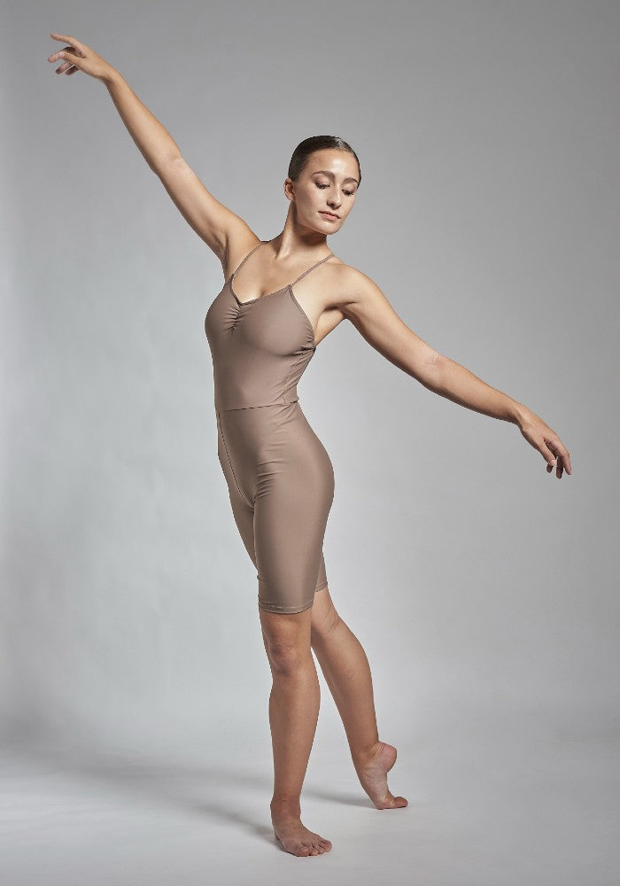 Front view of the Gulnara unitard in brown Aisy Dance made with ECONYLu00ae regenerated nylon