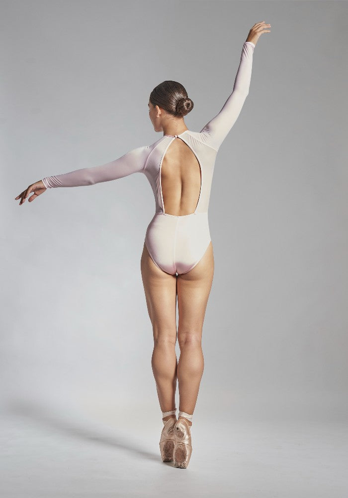 Back view of the Helena leotard in pink Aisy Dance made with ECONYLu00ae regenerated nylon