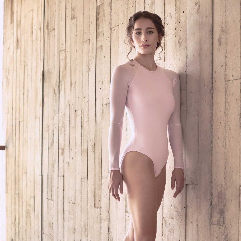 Front view of the Helena leotard in pink Aisy Dance made with ECONYLu00ae regenerated nylon