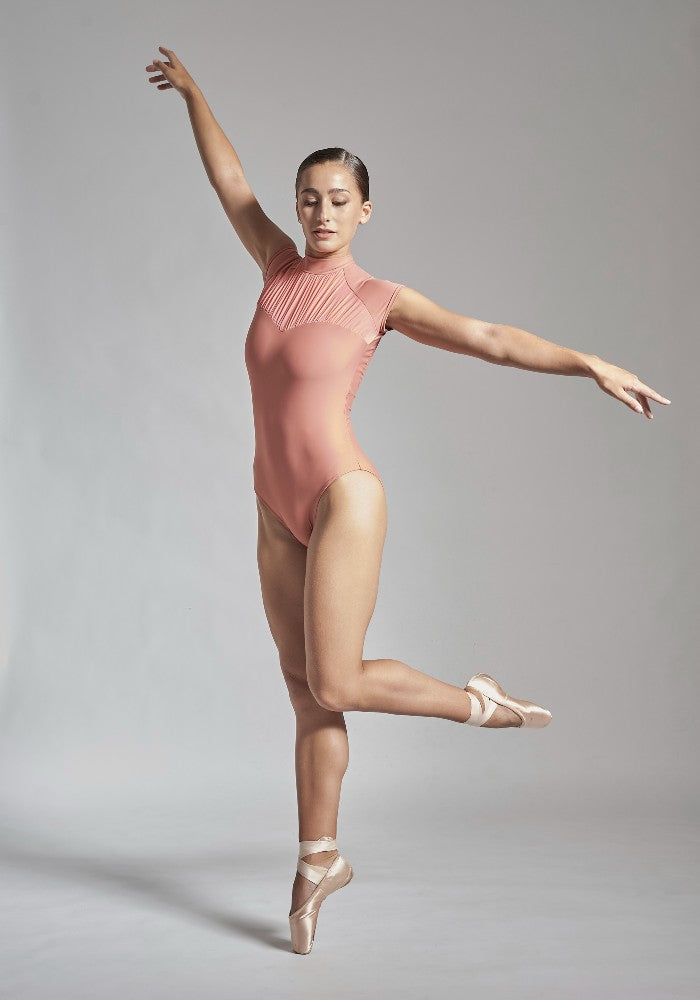 Front view of the Julieta leotard in peach pink Aisy Dance made with ECONYLu00ae regenerated nylon