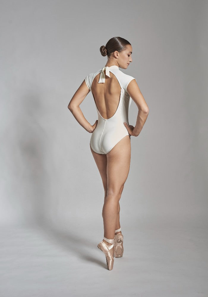 Back view of the Julieta leotard in white Aisy Dance made with ECONYLu00ae regenerated nylon