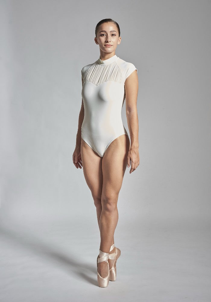 Front view of the Julieta leotard in white Aisy Dance made with ECONYLu00ae regenerated nylon