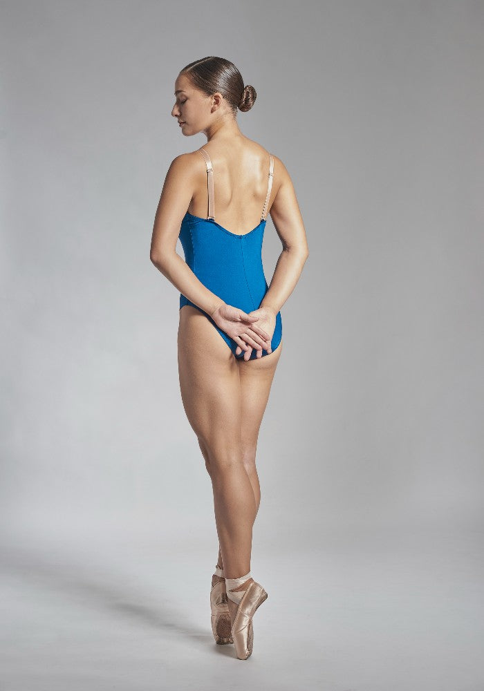 Back view of the Titania leotard in blue indigo Aisy Dance made with ECONYLu00ae regenerated nylon