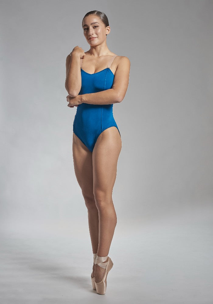 Front view of the Titania leotard in blue indigo Aisy Dance made with ECONYLu00ae regenerated nylon