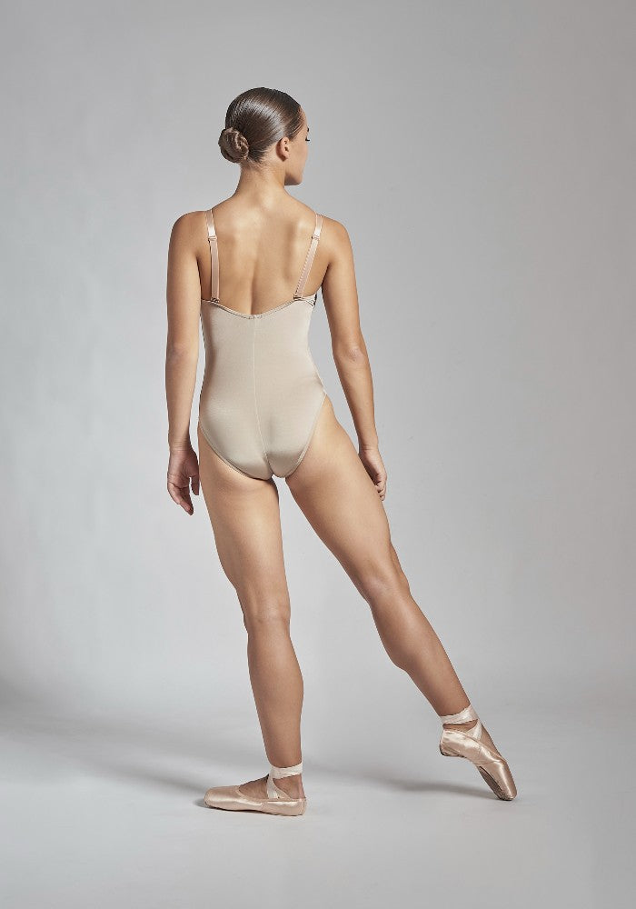 Back view of the Titania leotard in taupe Aisy Dance made with ECONYLu00ae regenerated nylon