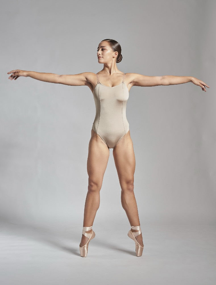 Titania leotard in taupe Aisy Dance made with ECONYLu00ae regenerated nylon
